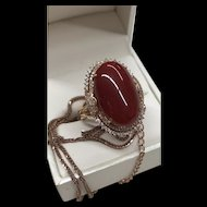 Fabulous 18K Oxblood Aka Coral And Diamond Rose Gold Ring&Pendant Necklace