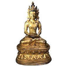 18th-19th Chinese-Tibetan Collectible Gilt Bronze Hand Carved A Buddha Statue