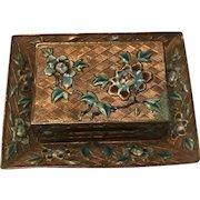 Antique Chinese Cloisonné Enamel Match Holder And Ashtray Set