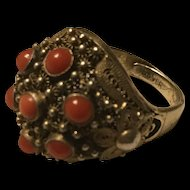 Chinese Export Filigree Silver Coral Ring