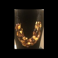 Fabulous Braided Genuine Multi Color Baltic Amber 6 Strands Necklace