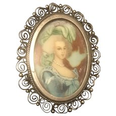 Hand Painted Portrait Italian Pin 800 Silver Antique Brooch/ Pendant