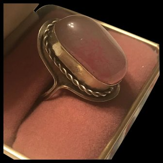 Art Deco Sterling Silver Vintage Pink Agate Ring