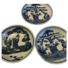 19th Century Chinese Blue And White Dishes With Immortals