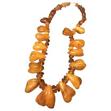Natural Egg Yolk Butterscotch Baltic Amber Necklace
