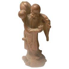 Chinese Carved Boxwood Sage Figurine