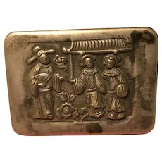 Collection Chinese Carved Exquisite  Designs  Old White Copper Cartridge Ink Box