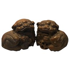 Antique A Pair Of Chinese Carved Bamboo Lions