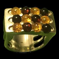 Vintage Solid Sterling Silver Bi-Colors Baltic  Amber Ring