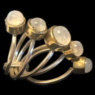 Victorian Style Harem Ring With A Band Of Moonstone
