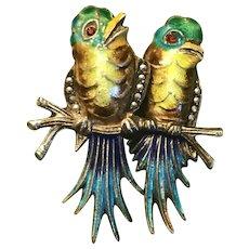 Vintage Germany Sterling Silver Enamel Birds  Brooch