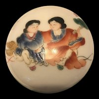 Old  Chinese Famille Rose Porcelain Seal Paste Ink Box