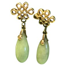 Vintage Chinese 14K Gold Jade Dangle Earrings With Endless Knots