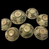 Antique Chinese Set Of 7 Food Bowls with Red Marked