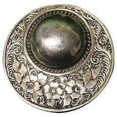 Victorian Vintage Sterling Silver Mourning Brooch