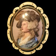 Art Deco Thomas L Mott Enamel Portrait Brooch/ Pendant