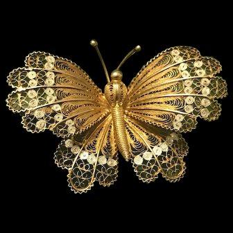 Fabulous Art  Nouveau Filigree 800 Silver  Butterfly Wing Brooch