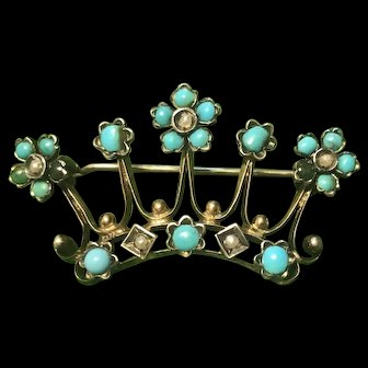 Fabulous Antique Victorian Silver Gilt Brooch Crown With Turquoise seed Pearls c. 1860