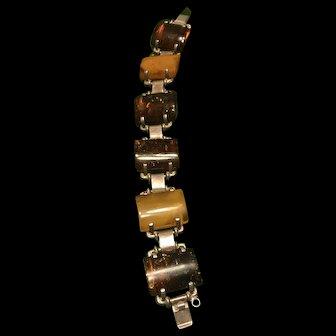 Vintage Portland large Silver Genuine Baltic Amber Chunky Bracelet