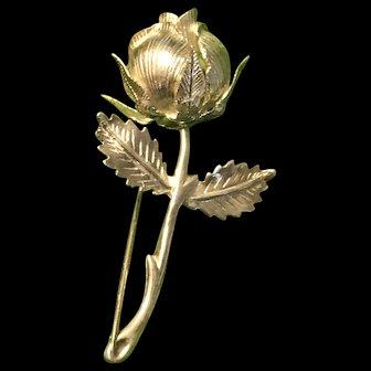 Stunning Vintage Sterling  Silver Rose Brooch With Hallmark 925