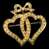 Victorian 14K Yellow Gold Double Heart  Seed Pearl Pin/Pendant