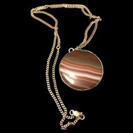 Vintage Brown Branded Agate Large Pendant Necklace In Sterling Silver