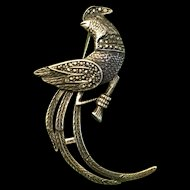 Stunning Large Sterling Silver Marcasite Phoenix Bird Brooch Pin