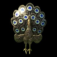 1940s Sterling Silver Enamel Articulated Peacock Brooch