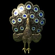 1940s Sterling Silver Enamel Articulated Peacock Brooch