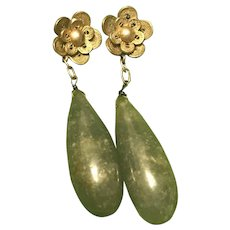 Antique Chinese Export Green Iced Jade Earrings