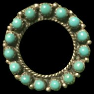Vintage Sterling Silver Antique Persion Turquoise Circle Cabochon Brooch
