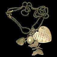 Adorable Vintage Sterling Silver 925 Necklace With Charms