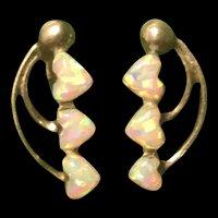 Victorian Sterling Silver Opal Earrings
