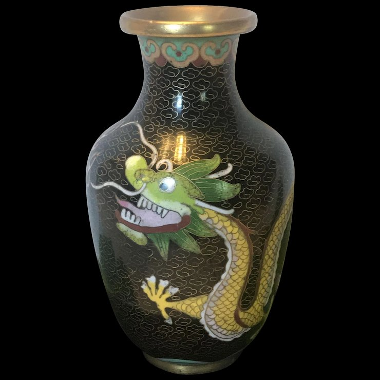 Vintage Chinese Cloissone Dragon Vase Timeless Antique And