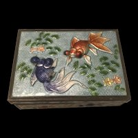 19th Century Chinese Seabed Koi Fish  Cloisonné Enamel Cigarette Box