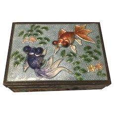 Vintage Chinese Cloisonné Enamel Cigarette Box