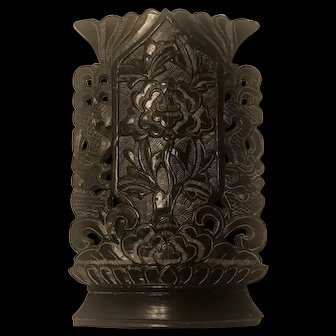 Antique Chinese Black Soapstone Dragon & Floral Vase