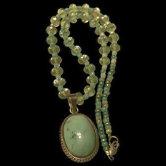 Vintage Rock Quartz & Turquoise Sterling Silver Necklace