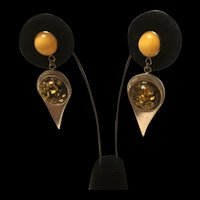 Stunning Vintage Baltic Amber Sterling Silver  Earrings