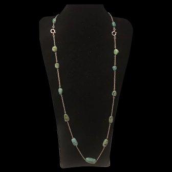 Antique Art Deco 14K Rose Gold Turquoise Nugget Stone Necklace