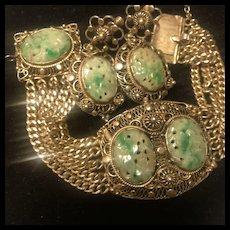 Antique  Chinese Sterling 14K GF Carved  Jade Multi Chain Bracelet Earrings Set