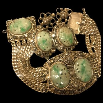 RESERVE FOR INSOOK Antique  Chinese Sterling 14K GF Carved  Jade Multi Chain Bracelet Earrings Set