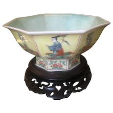 Stunning Chinese Porcelain Octagonal Famille Bowl Of  Eight Immortal With KangXi Marks
