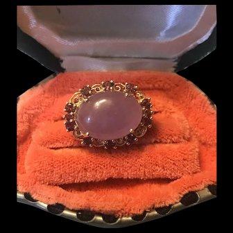 Vintage Chinese 14K Gold Lavender Jadeite & Pink Tourmaline Ring