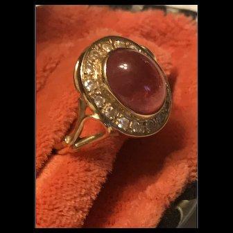 Stunning 14K Gold Natural Pink Tourmaline & Diamond Ring
