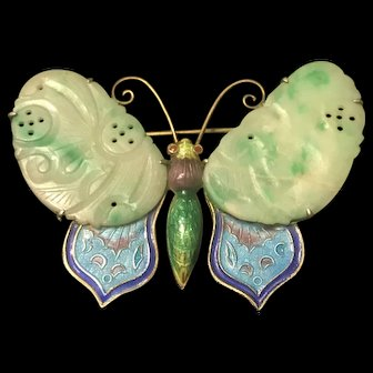 Antique Chinese Carved Jade Butterfly Sterling Silver Enamel Brooch