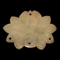 Large Vintage Chinese  Double Carved Lotus Flower Jadeite Pendant