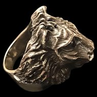Fabulous Vintage Sterling Silver Lion Head Ring
