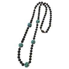 Chinese Sterling Silver Onyx Turquoise Gemstone Beaded Necklace