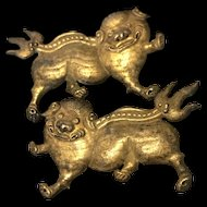 Antique Chinese Silver Old Handmade One Pair Of Silver Hat Cloth Ornament Foo Dog